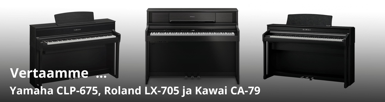 Vertailussa Kawai CA-79, Yamaha CLP-675 ja Roland LX-705